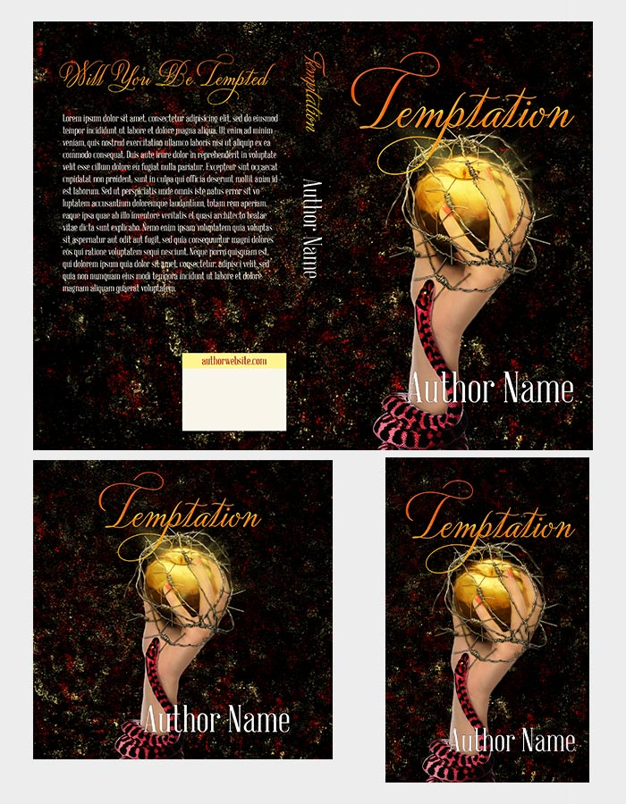 Temptation book cover, hand with barbed wire apple and snake.